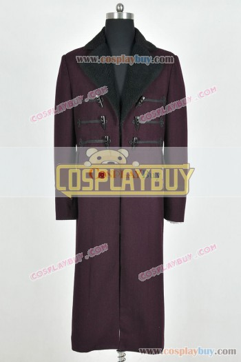 Doctor Who 11th Dr Matt Smith Costume Purple Long Coat