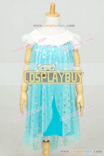 Frozen Cosplay Elsa Dress Children Lace Blue