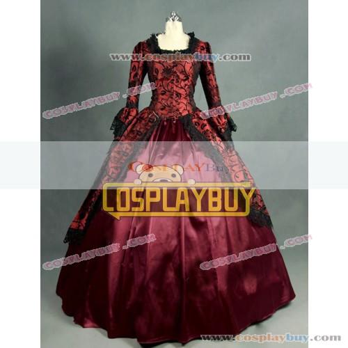 Victorian Lolita Marie Antoinette Brocade Gothic Lolita Dress Wine Floral