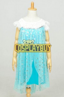 Frozen Cosplay Elsa Dress Children Lace Blue