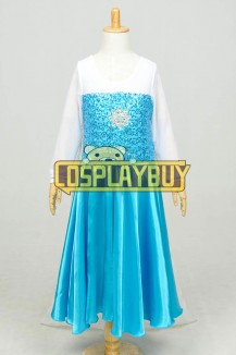 Frozen Cosplay Elsa Satin Blue Children Dress