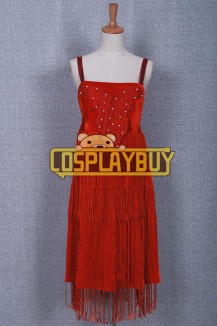 Historical Red Braces Dress