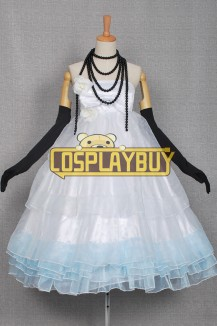 Vocaloid 2 Cosplay Hatsune Miku White Blue Dress